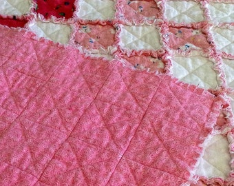 Rag Crib Quilt for Baby Girl; Pink and White Blanket