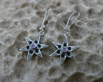 Silver Earrings, Amethyst Earrings, Star Earrings , Silver Earrings, Handmade 925 Silver Earrings, Dangle Earrings