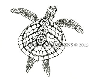 Hand Drawn Pen and Ink Sea Turtle Signed Print