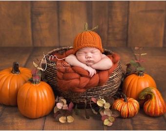 Newborn Sitter Toddler Child Adult Hand-knit Pumpkin Beanie