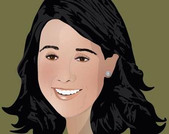 Realistic custom illustrator portrait, personalized gift