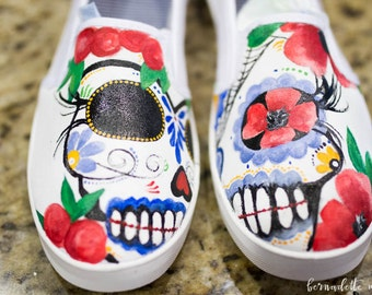 Calaveritas - Day of the Dead customized shoes. Sugar Skulls personalized shoes