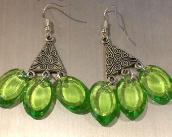 Handmade, unique silver, light green hook earrings with silver highlights