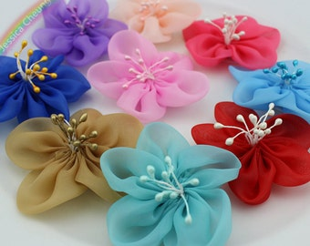 Assorted Colors 60mm Organza Flowers w/ Pearlized Stamen Tulle Flower Appliques Bridal Flowers,Headband,Corsage,Wedding Supplies FZ0341