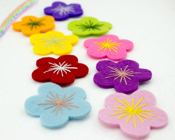15pcs Assorted Colors Handmade Embroidered Petal Flowers ...