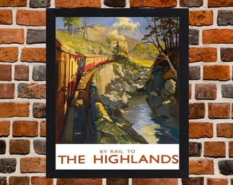 Framed By Rail To The Highlands Scotland British Railways Travel Poster A3 Size Mounted In Black Or White Frame