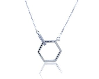 925 Sterling Silver Unique Hexagon Necklace – 0.02 CT.TW (S277)
