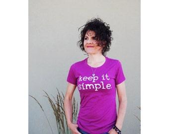 2 Colors - Keep it Simple. TEE, Lush Purple or Bondi Blue