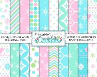 Candy Colored Winter Digital Paper Pack Printable Scrapbook Paper Instant Download - Includes Limited Commercial Use!