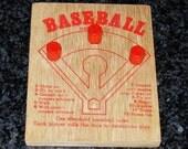 Baseball Peg Board Dice Game Vintage 1960's Baseball Dice Game