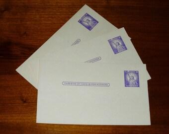 Three Vintage Postcards Pre-Stamped Three Cents Vintage 1950's Unused Postcards
