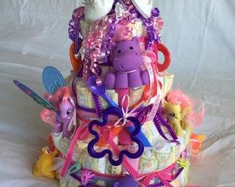 Large girl diaper cake