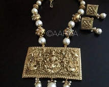 Indian jewelry /Antique temple lakshmi  pendant with pearl beads / antique temple jewelry /Lakshmi pendant/south indian/pearl and gold
