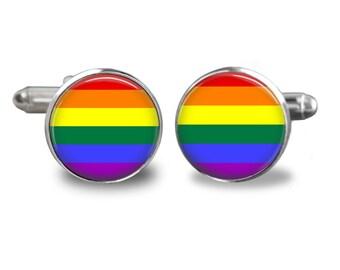 Rainbow Flag Handmade Cufflinks
