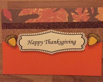 Greeting card/invitation/Fall/Thanksgiving/fall colors/handmade/customize