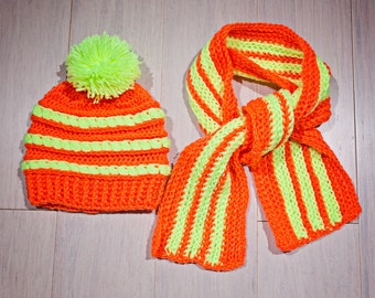 Girls/Boys Knitted Hat and Scarf Set