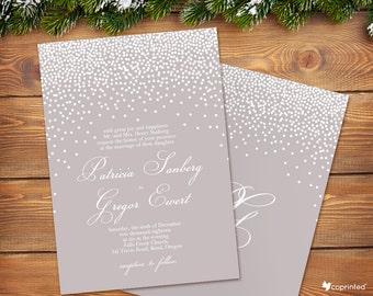 Snow Falling Wedding Invitation - seasonal, classical, winter, snow, snowflakes, dots, wedding, invitation, template, typography, custom