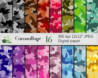 Camouflage Digital paper set, Colorful Camouflage Digital Papers, Scrapbook Papers, Camo Papers, Instant Digital Download
