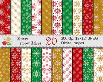 SALE 50% Christmas Snowflakes Digital Paper Set, Christmas Snowflakes Digital Scrapbook papers, Red, Green, Gold, Silver, Instant Download