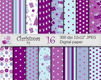 Christmas Purple and Blue Digital Paper, Christmas Digital Scrapbook Printable Papers with Lights, Ornaments, Gifts, Digital Download