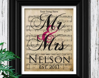 3rd Anniversary Gift For Wife | YOUR WEDDING SONG | 100% Cotton Sheet Music Art with Velvet Texture | 3 Year Anniversary | 3rd Anniversary