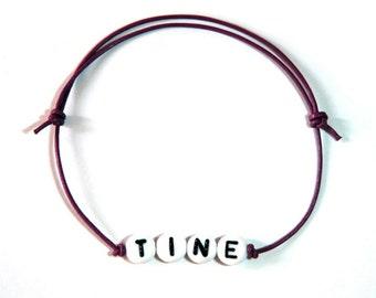 Berry name bracelet leather