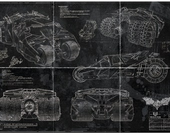 Batman Batmobile Tumbler Blueprint Art Print (A2 = 420mm*594 or 16.5' * 23.4')