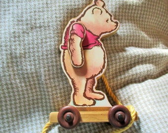 Vintage Classic Winnie the Pooh Pull Along Wooden Toy by Charpente RARE