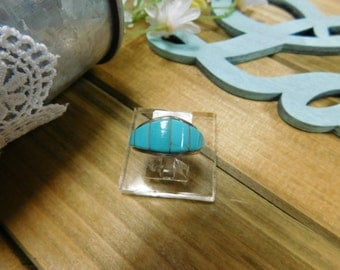 Sterling Silver Turquoise Inlay Band