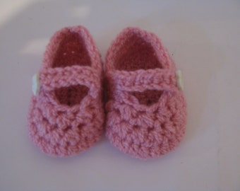 Pink Baby Girl Mary Janes Shoes with Baby Girl Shoes-Pink Booties-Pink Baby Girl Photography Prop ** Free Shipping **