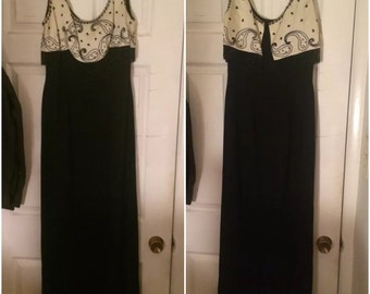 Vintage 1960s Black and White Lilli Diamond, Crepe, Satin, Beading and Lurex Wiggle Dress