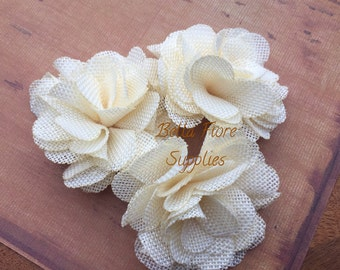 Ivory Burlap Flowers, 3 inches, Burlap Flowers, Wedding Supply, Burlap Rose