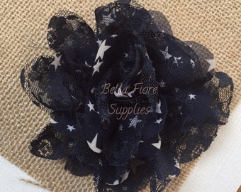 Navy Blue Stars Chiffon Lace Flowers, 3.75 inch, Chiffon Flowers, Lace Flower, Dallas Cowboys, 4th of July