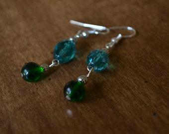 Dark Blue & Green Beaded Dangle Earrings