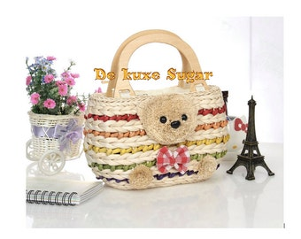 EXCLUSIVE Teddy Bear Fashion Straw Handbag