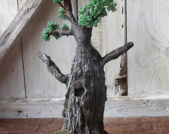 Bonsai Tree Wire Beaded Sculpture Handmade Home Decor