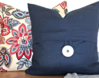 Blue Pillow Cover Button Designer Decorative Throw Pillow 18x18