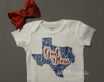 God Bless Texas Baby Bodysuit, Red and Blue, Adorable!  Great Gift!