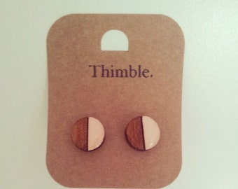 Laser Cut Wood Round Two Tone Earrings