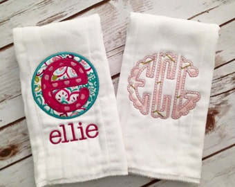 Set of 2 Personalized Burp Cloths- Baby Girl