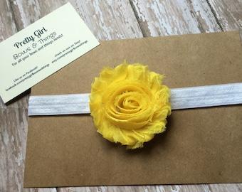 Yellow shabby flower headband