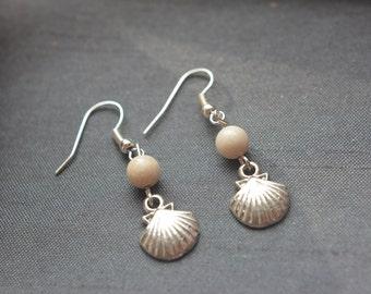 shell earrings with semi precious rose quartz or riverstone beads, shell charm pendant