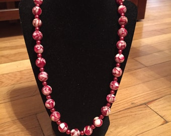 Red and White Custom Beaded Necklace