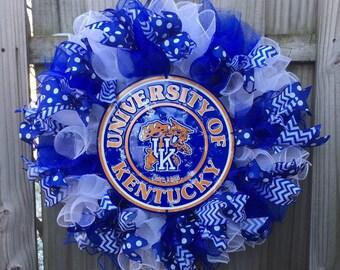 UK Wreath, University of Kentucky Deco Mesh Wreath, Kentucky Wreath