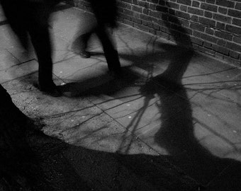Walking in Shadows dark abstract black and white photographic print