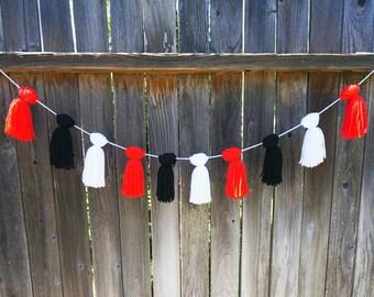 Yarn Tassel Garland Black White Red Ladybug Party Decor Party Supplies Nursery Decor Ladybug Theme Birthday Party Decor Yarn Banner