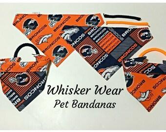 denver football fabric , reversible custom pet bandana, sizes XL-XS, pet scarf, pet attire, pet, dog, dog bandana, dog scarf