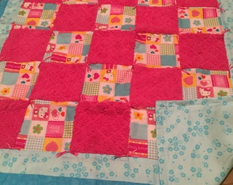 Kitty blue and pink floral baby quilt