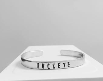 Ohio State Buckeye Bracelet Hand Stamped Aluminum Cuff