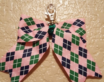 Pink,Navy and Green Argyle Back-Pack Bow